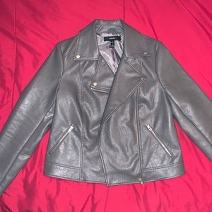 Grey Leather Material Jacket